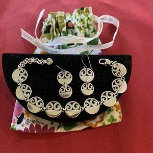 Brighton Silver Discs Bracelet and Drop Earrings